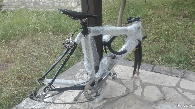 My bike, as it comes out of the bag, well padded in bubble wrap